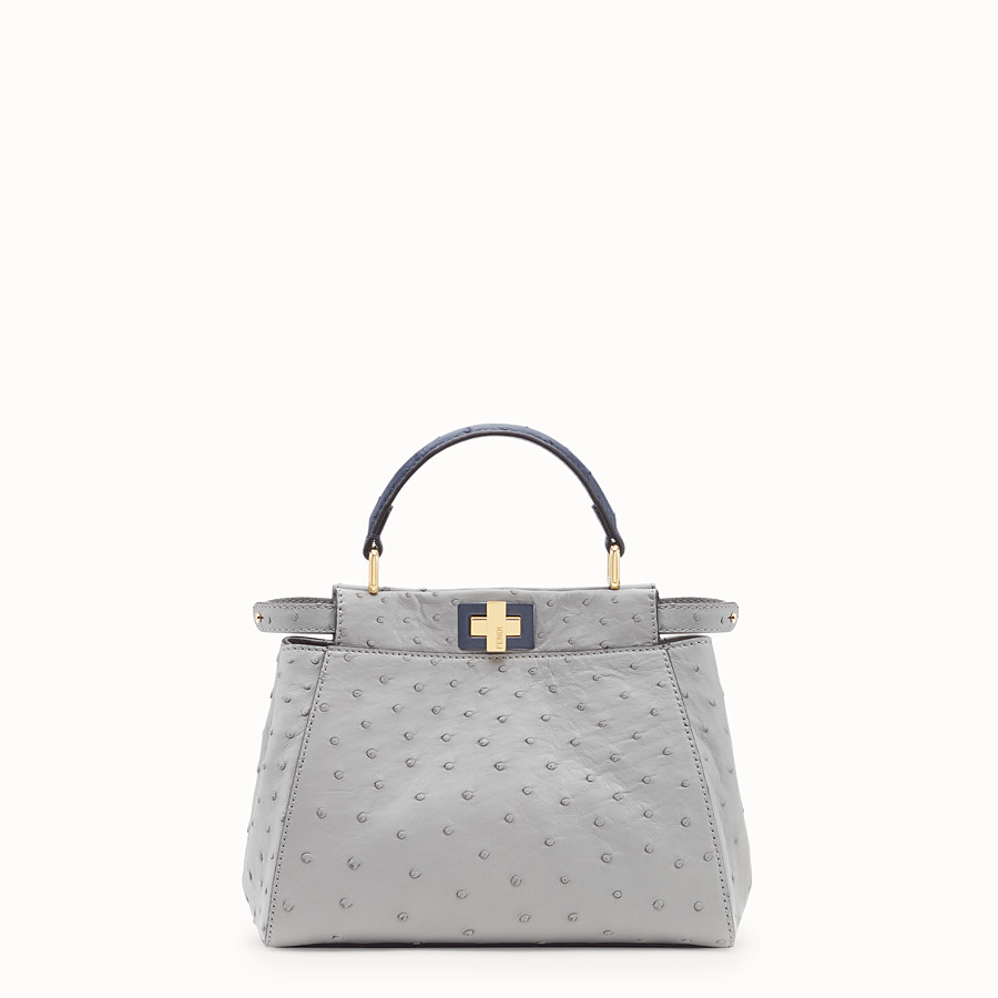 FENDI PEEKABOO MINI - White ostrich leather bag - view 1 detail
