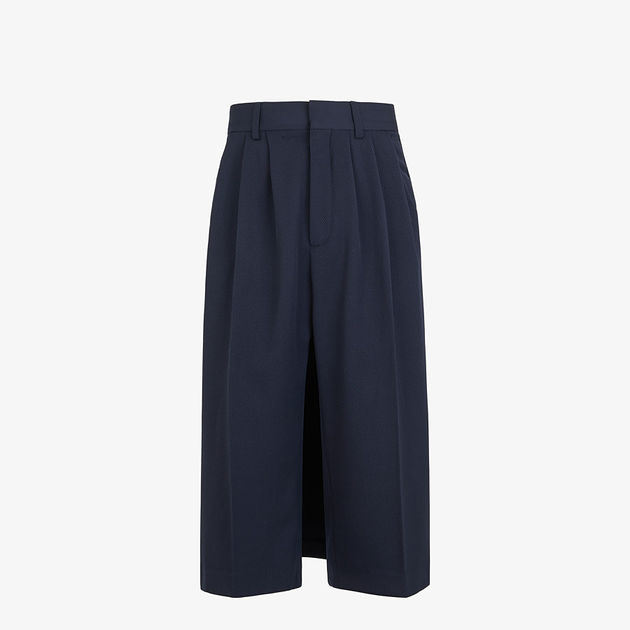 FENDI TROUSERS - Blue wool trouser skirt - view 1 detail