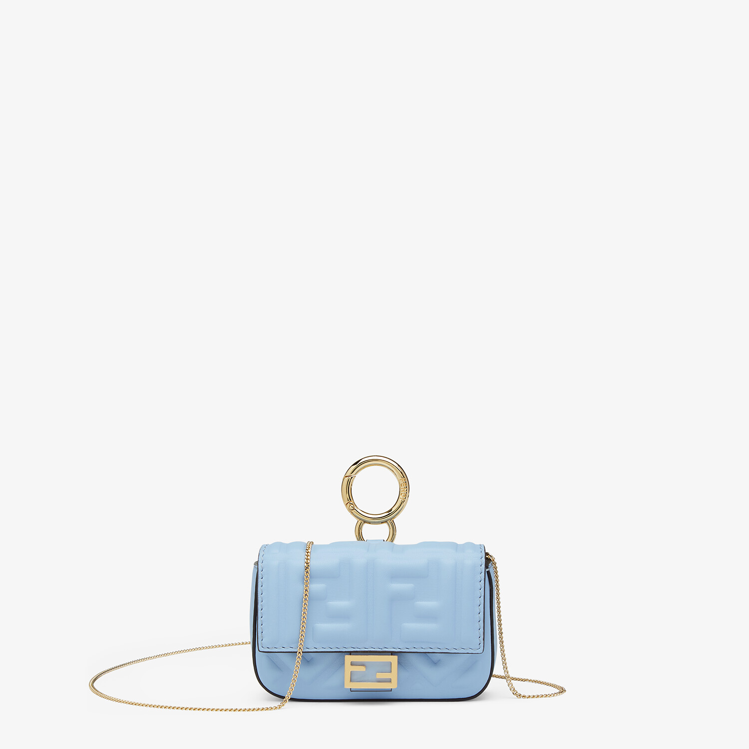 FENDI NANO BAGUETTE CHARM - Light blue nappa leather charm - view 1 detail