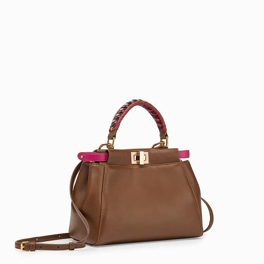 FENDI PEEKABOO MINI - Brown leather bag - view 2 detail