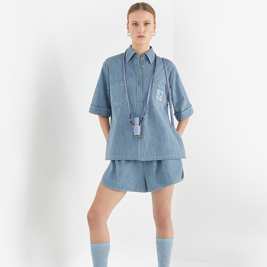 FENDI SHIRT - Light blue chambray shirt - view 4 detail