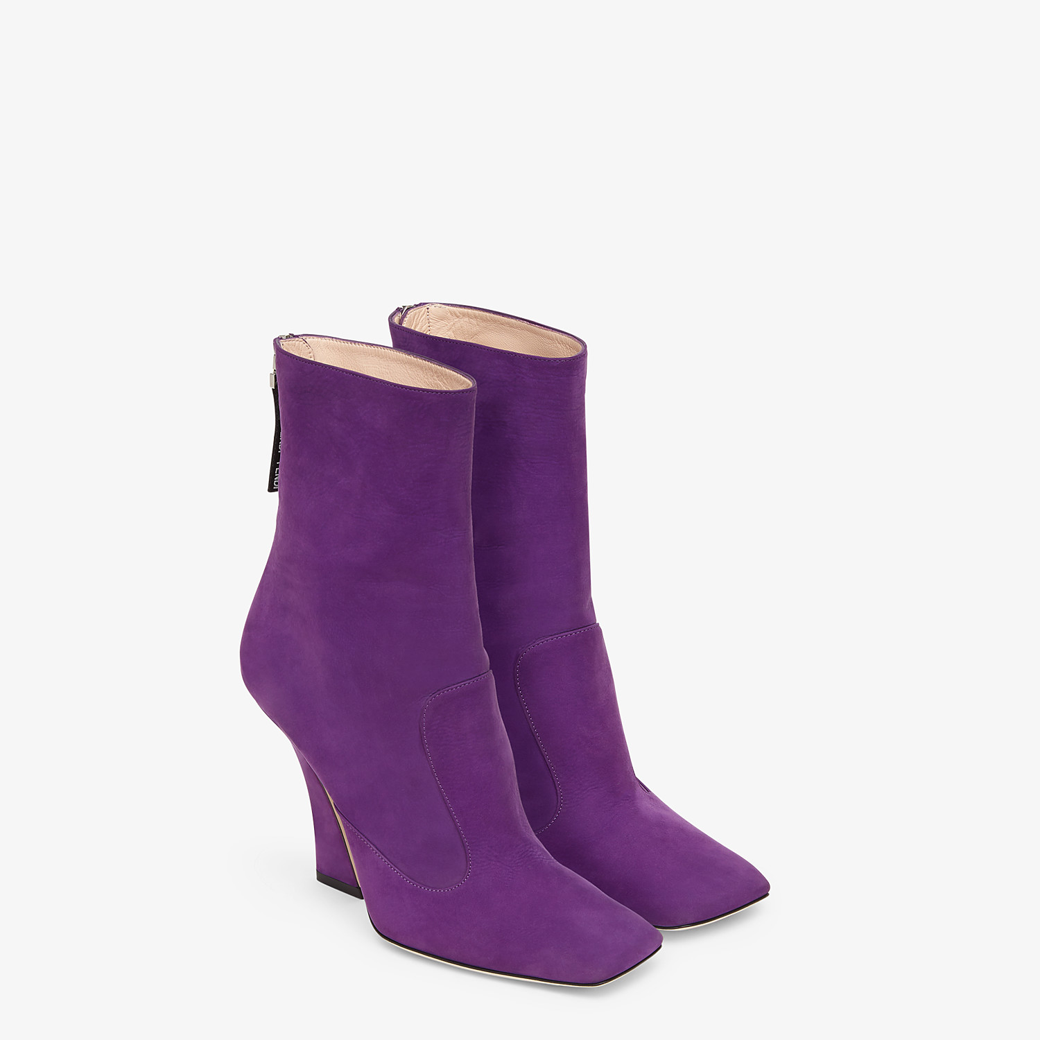 FENDI ANKLE BOOTS - Purple nubuck booties - view 4 detail