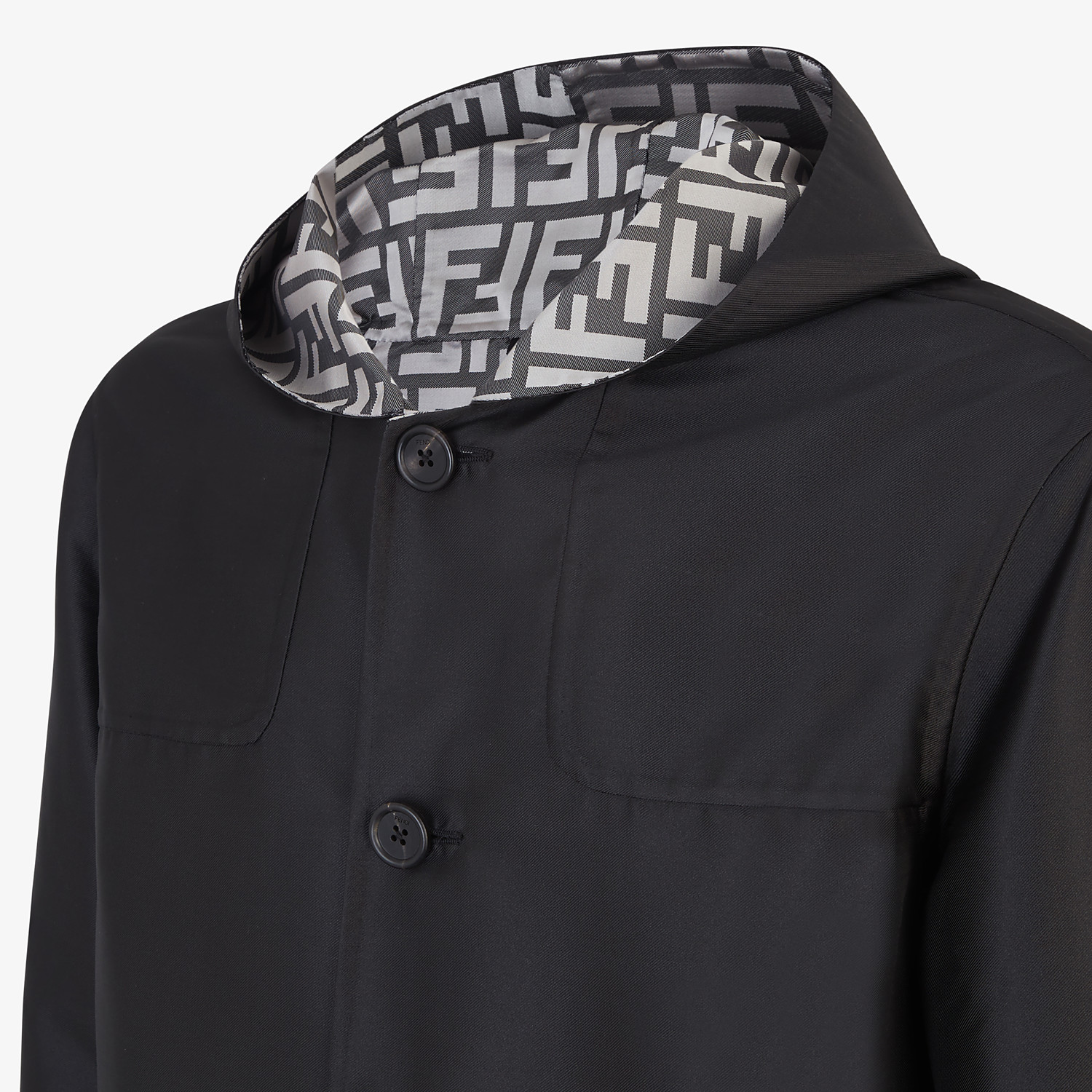 FENDI DUFFEL COAT - Black nylon coat - view 3 detail