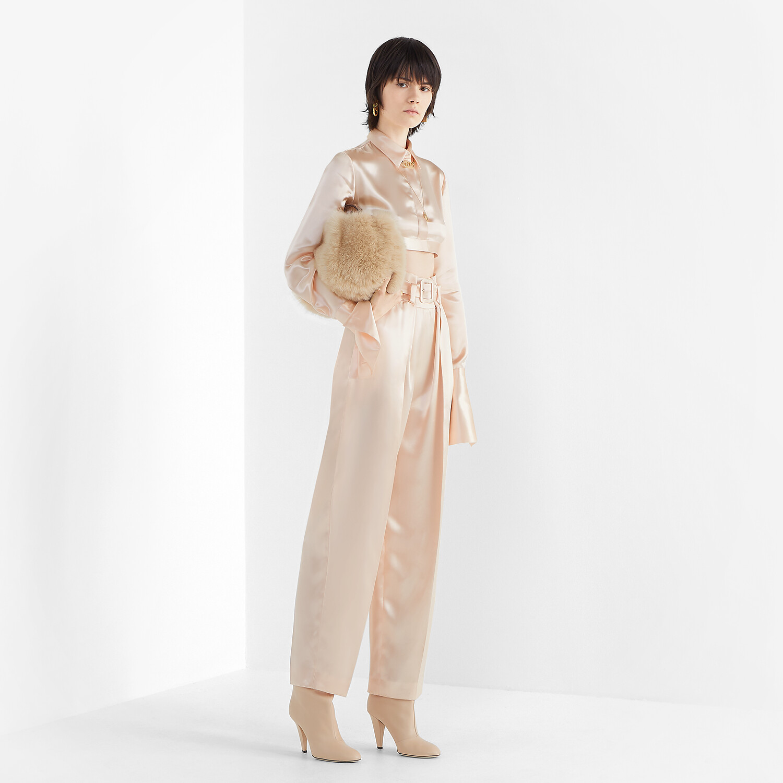 FENDI TROUSERS - Pink satin trousers - view 4 detail