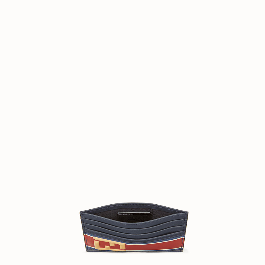 FENDI CARD HOLDER - Blue leather card holder - view 3 detail