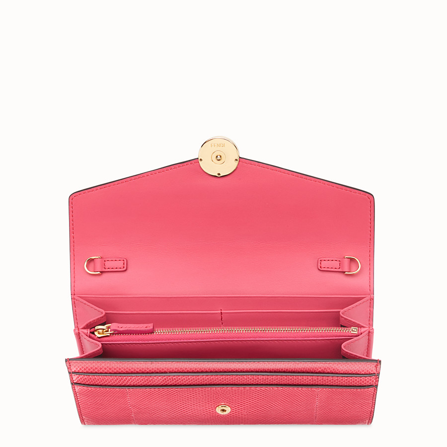 FENDI CONTINENTAL WITH CHAIN - Pink karung wallet - view 4 detail