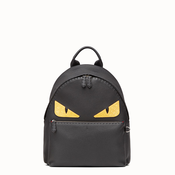 FENDI BACKPACK - In black Roman leather with inlay - view 1 小型縮圖