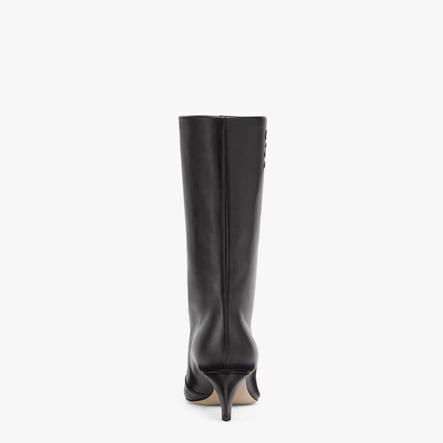 FENDI KARLIGRAPHY - Black leather boots with medium heel - view 3 detail