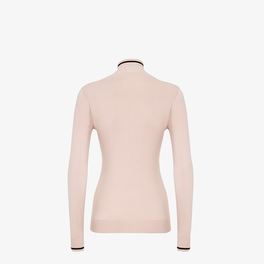 FENDI SWEATER - Pink silk sweater - view 2 detail