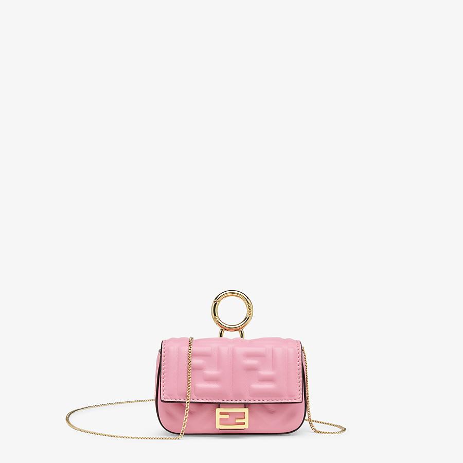 FENDI NANO BAGUETTE CHARM - Charm in pink nappa leather - view 1 detail