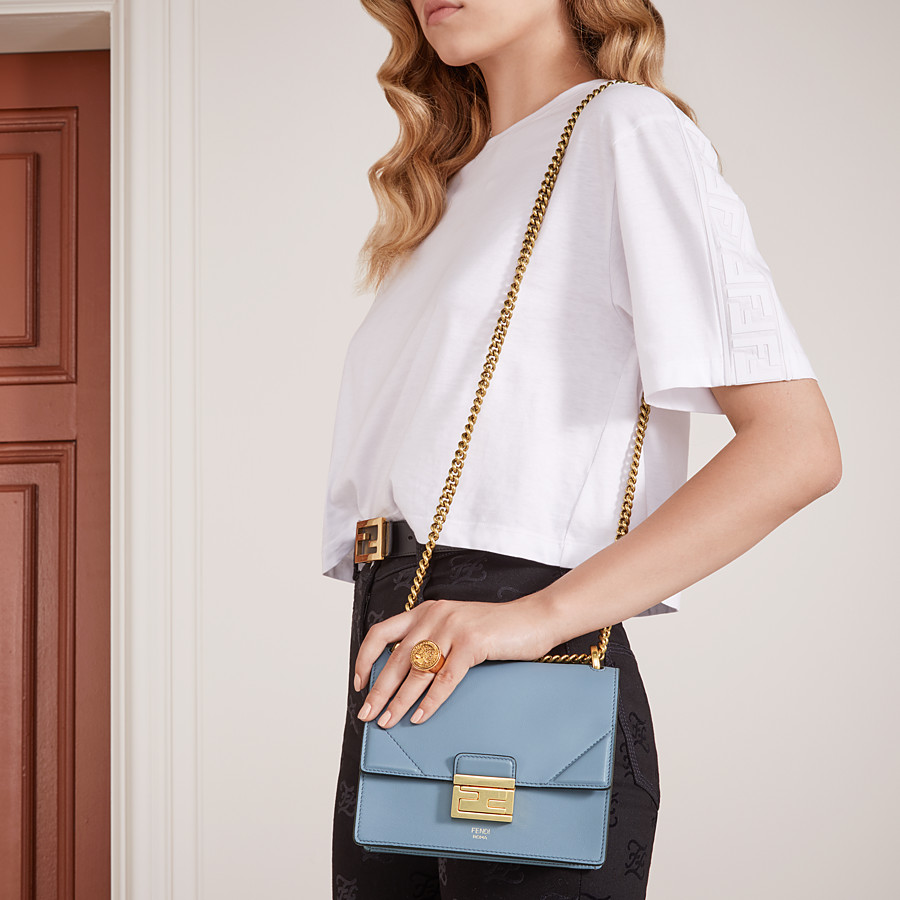 FENDI KAN U SMALL - Light blue leather mini-bag - view 2 detail