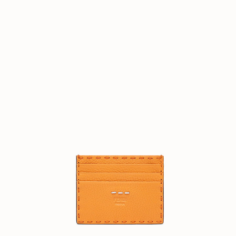 FENDI PORTACARTE - Portatessere in pelle arancione - vista 1 dettaglio
