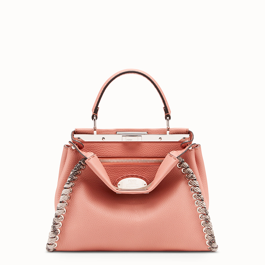FENDI PEEKABOO REGULAR - Pink leather bag with exotic details - view 1 detail