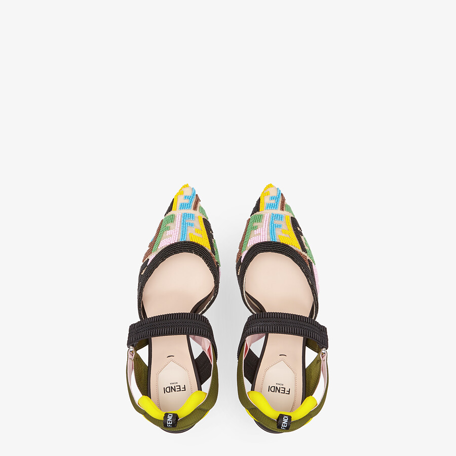 FENDI COLIBRÌ - High-heeled slingbacks with multicolor beads - view 4 detail
