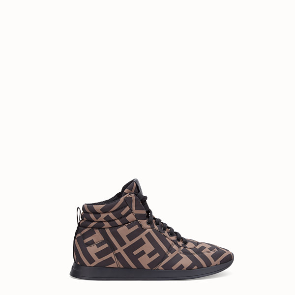 FENDI SNEAKERS - Brown nylon high-tops - view 1 small thumbnail