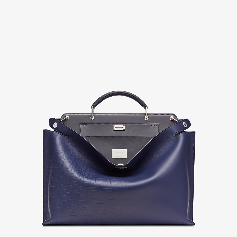 FENDI PEEKABOO ICONIC ESSENTIAL - Blue calf leather bag - view 1 detail