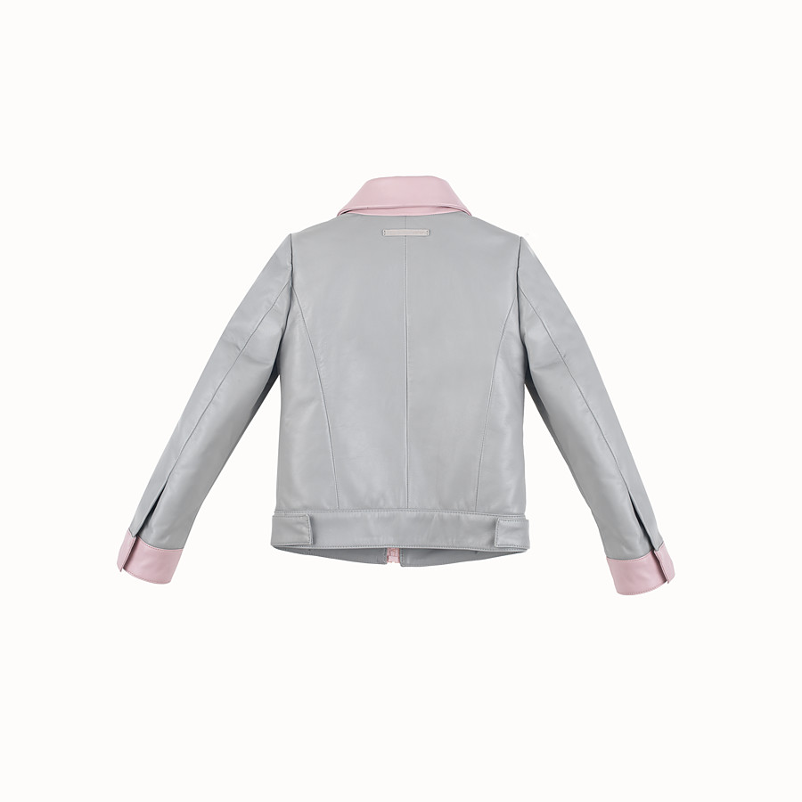 FENDI JACKET - in grey and pink leather - view 2 detail