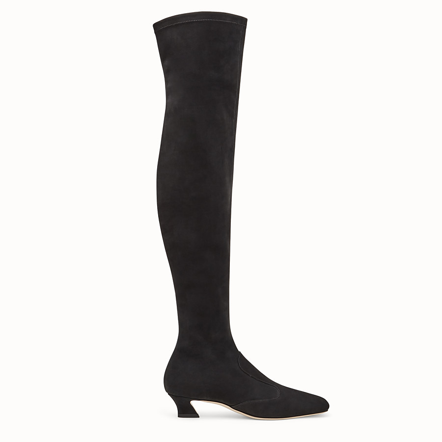 FENDI BOOTS - Black nubuck thigh-high boots - view 1 detail