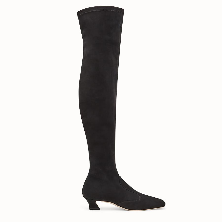 FENDI BOOTS - Black nubuck thigh-high boots - view 1 detail