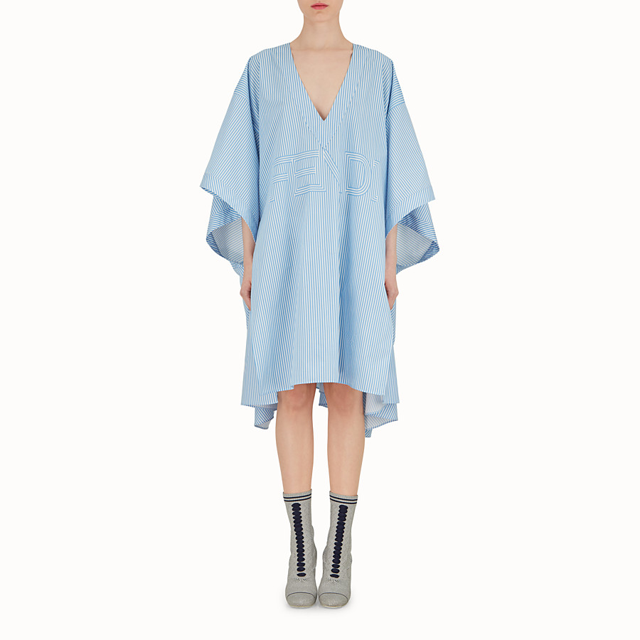 FENDI ROBE KIMONO - Robe en coton bleu clair - view 2 detail