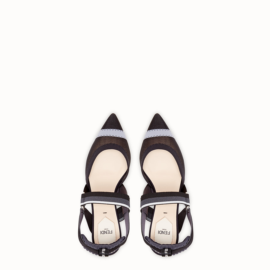 FENDI PUMPS - Black mesh slingbacks - view 4 detail