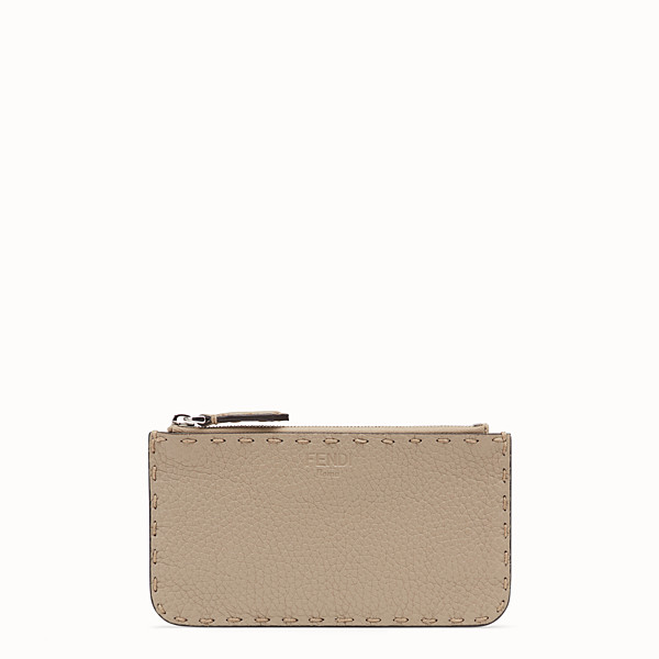 FENDI CARD POUCH - Beige leather pouch - view 1 small thumbnail
