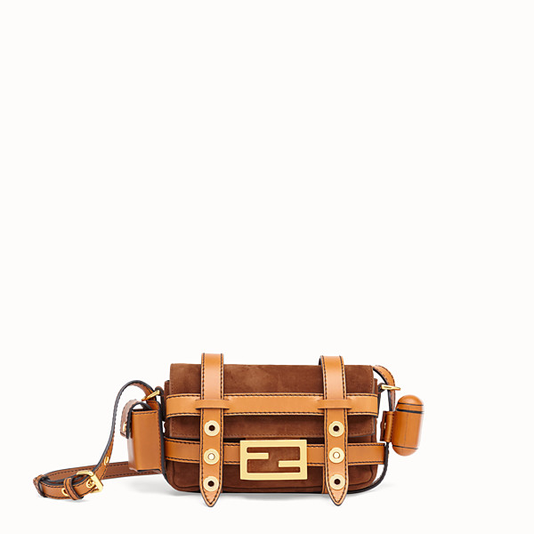 FENDI MINI BAGUETTE WITH CAGE - Brown suede and leather bag - view 1 small thumbnail