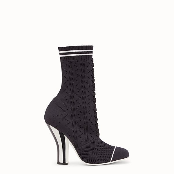 FENDI ANKLE BOOTS - Boots in black and white fabric - view 1 small thumbnail
