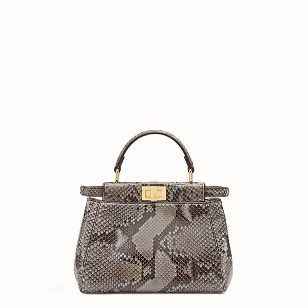 FENDI PEEKABOO ICONIC MINI - Borsa in pitone grigio - vista 1 thumbnail piccola