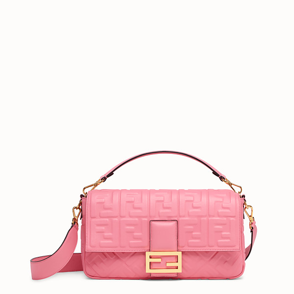 FENDI BAGUETTE LARGE - Borsa in pelle rosa - vista 1 thumbnail piccola