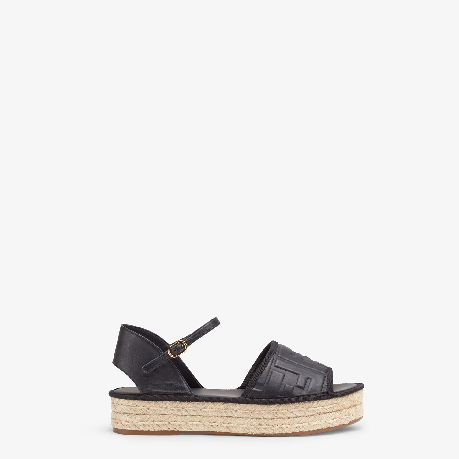 FENDI ESPADRILLES - Black leather flatform espadrilles - view 1 detail