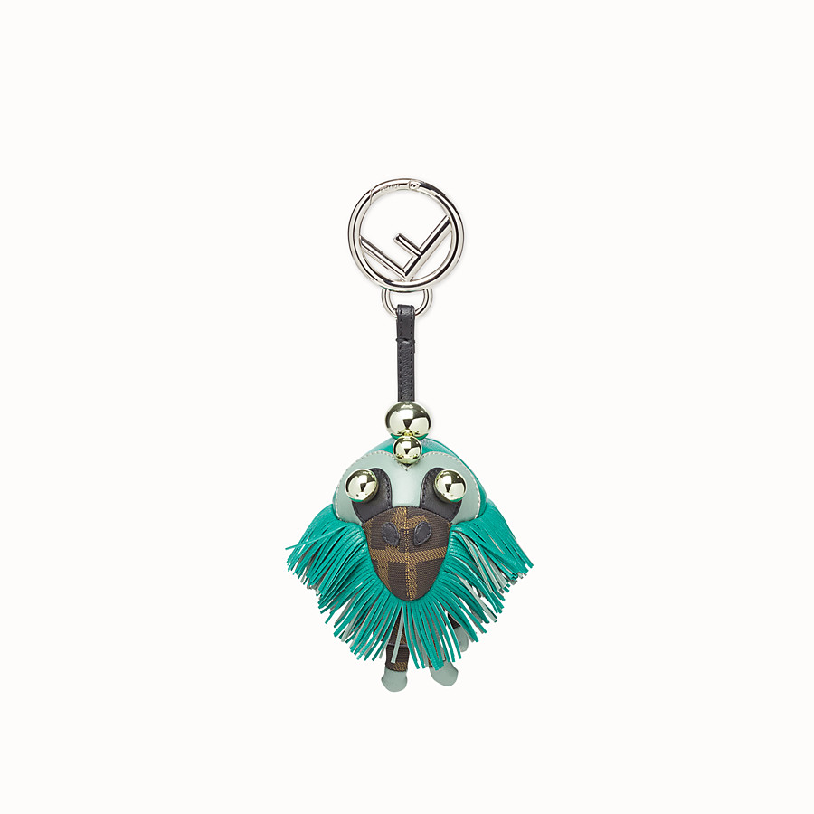 FENDI SPACE MONKEY - Multicolor leather and jacquard charm - view 2 detail