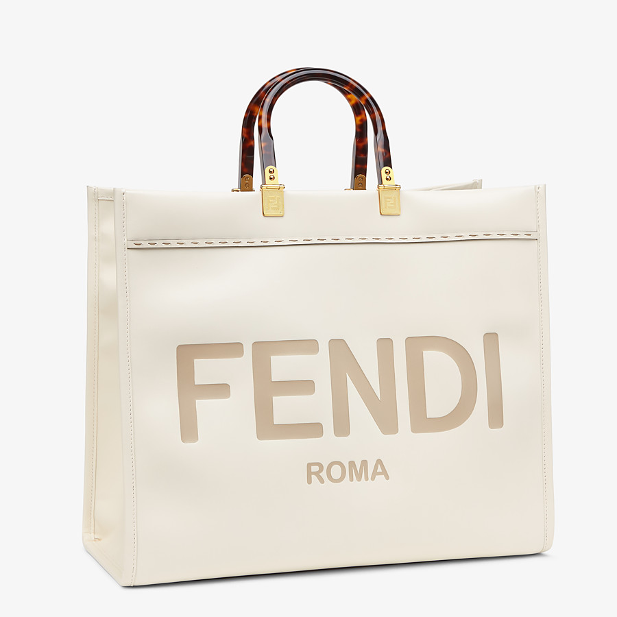 FENDI SUNSHINE SHOPPER - White leather shopper - view 3 detail