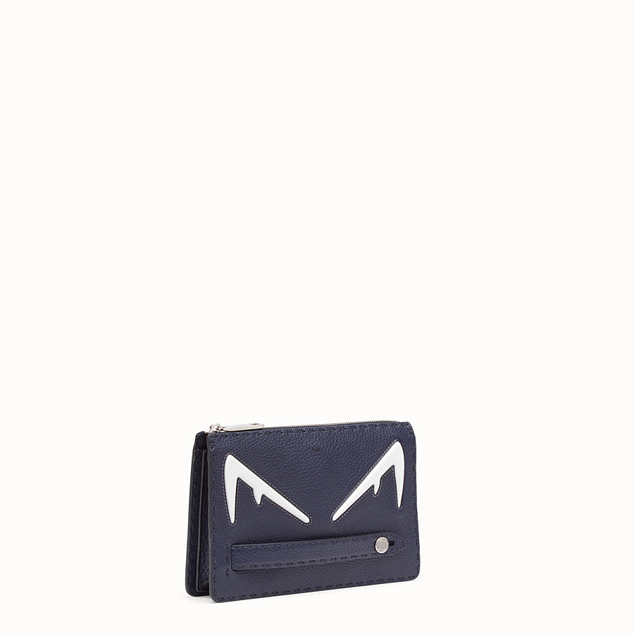 FENDI CLUTCH - Blue Romano leather pochette - view 2 detail
