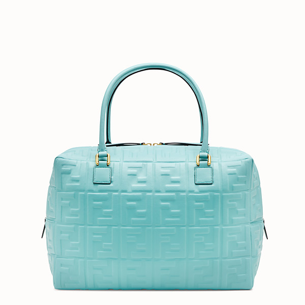 FENDI BOSTON LARGE - Pale blue leather Boston bag - view 1 small thumbnail
