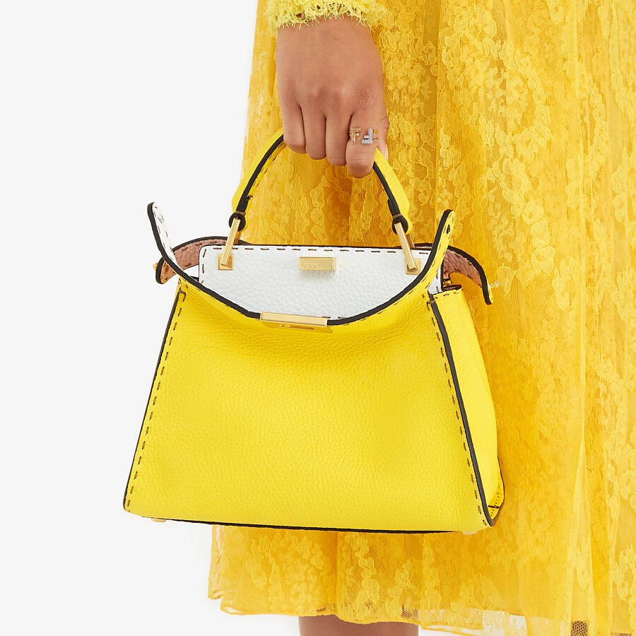 FENDI PEEKABOO ICONIC ESSENTIALLY - Yellow Cuoio Romano leather bag - view 2 detail