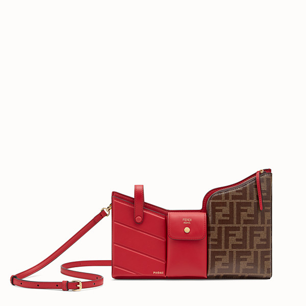 FENDI 3 POCKETS MINI BAG - Red leather messenger - view 1 small thumbnail