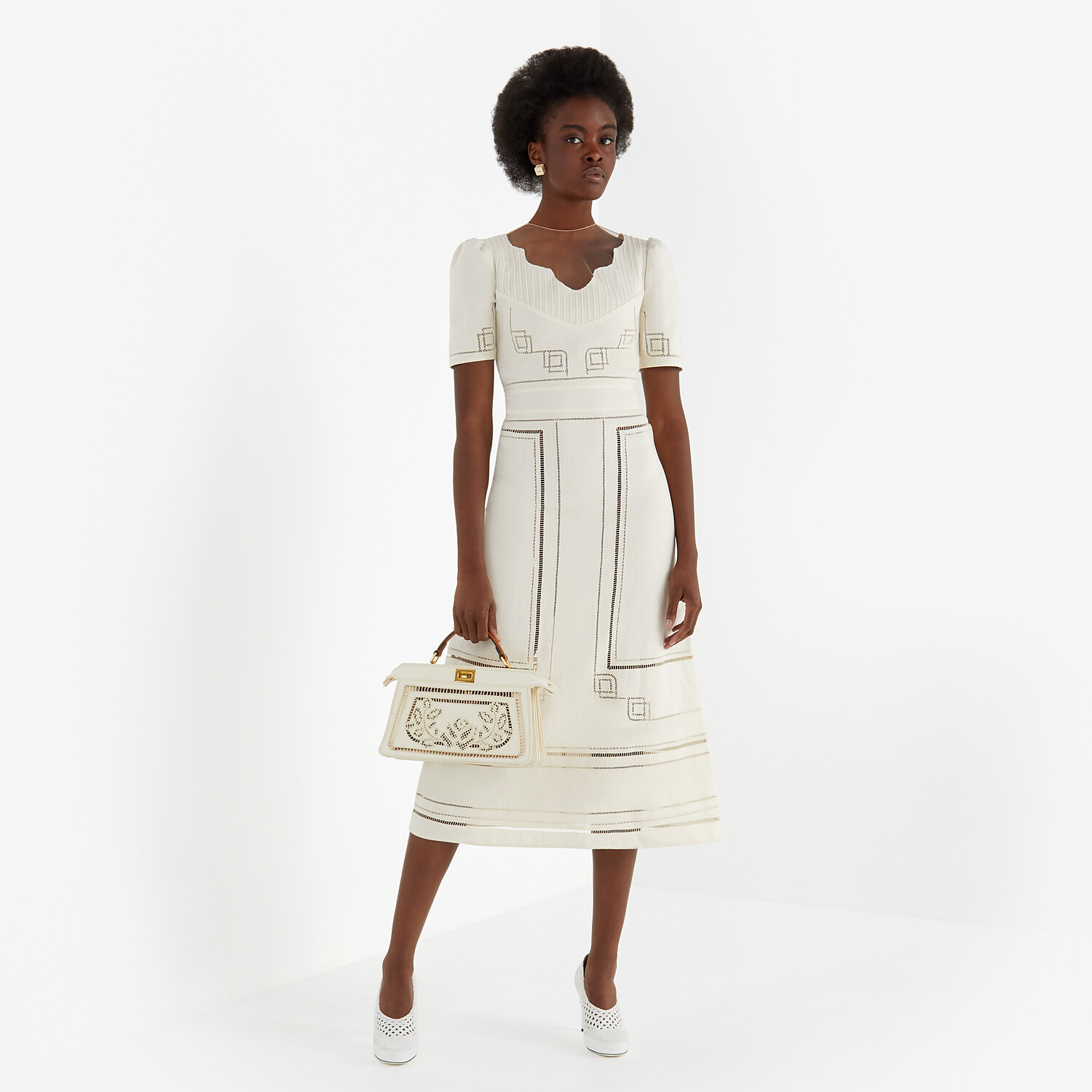 FENDI DRESS - White linen dress - view 4 detail