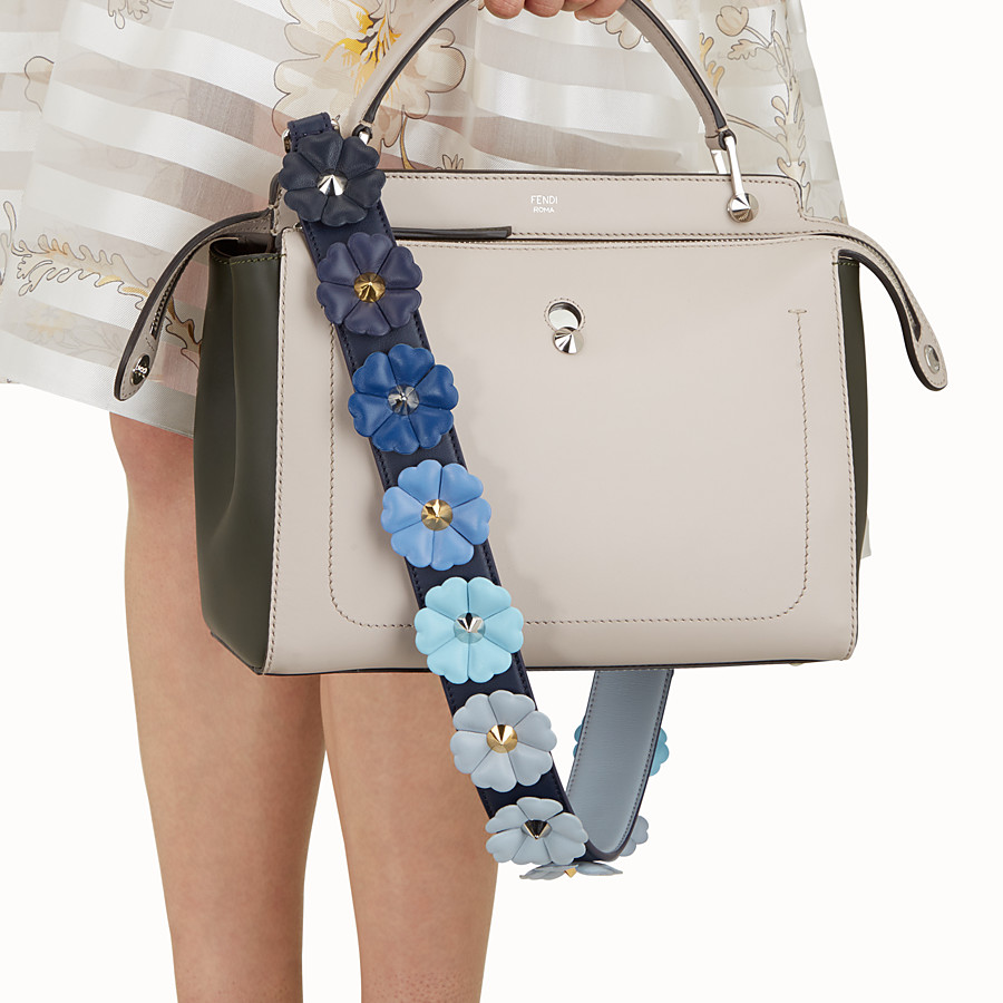 FENDI STRAP YOU - Shoulder strap in blue leather with flowers - view 2 detail