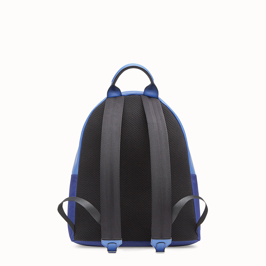 FENDI BAG BUGS BACKPACK - Fabric and blue leather backpack - view 3 detail