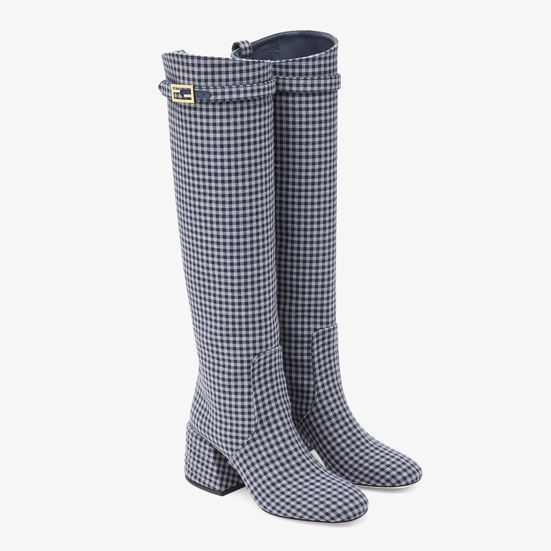 FENDI PROMENADES - Grey Vichy fabric boots - view 4 detail