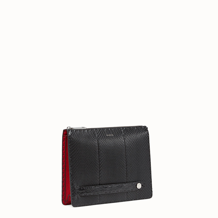 FENDI CLUTCH - Black python leather pochette - view 2 detail