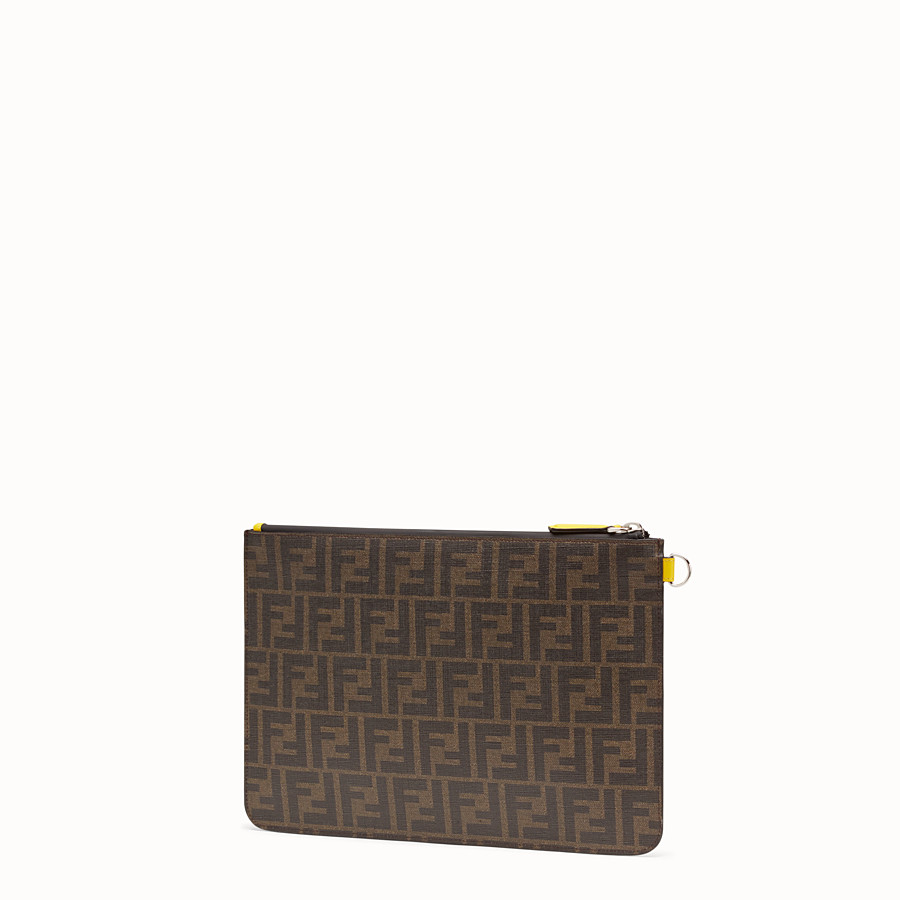 FENDI POUCH - Brown fabric pochette - view 2 detail