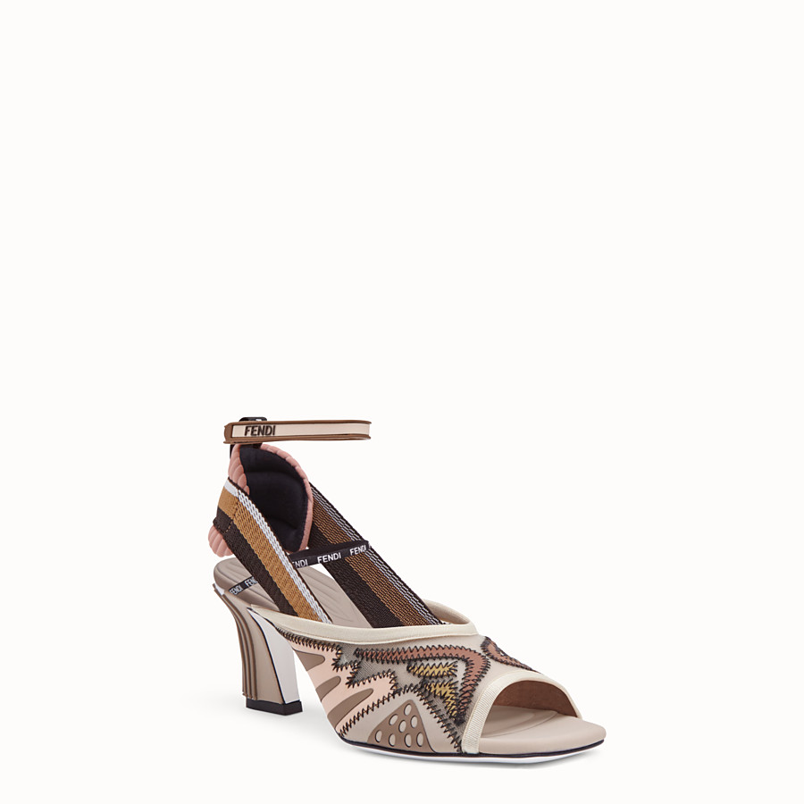 FENDI SANDALS - Sandals in pink technical mesh - view 2 detail