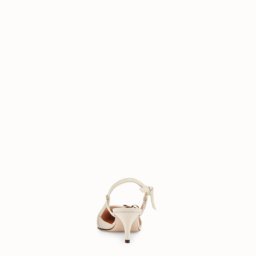 FENDI COURT SHOES - White leather slingbacks - view 3 detail