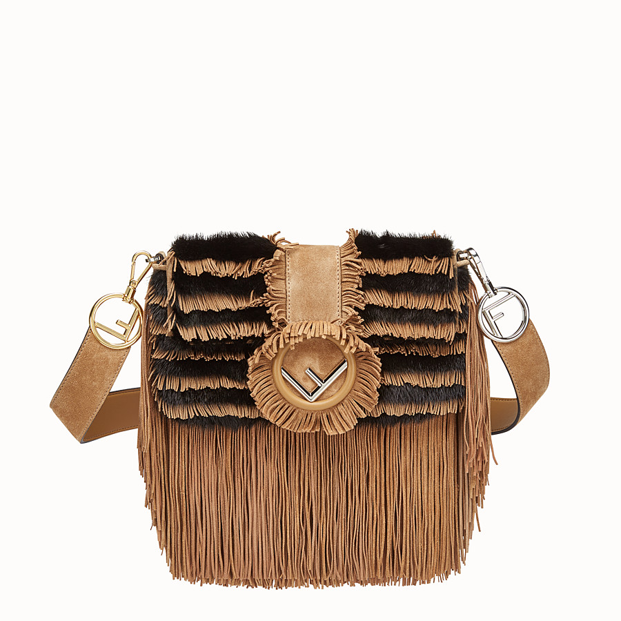 FENDI BAGUETTE - Beige suede and mink bag - view 1 detail