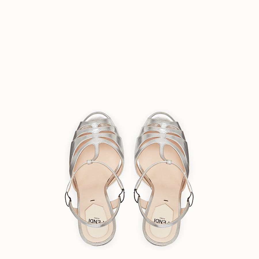 FENDI SANDALS - High-heeled sandals in silver leather - view 4 detail