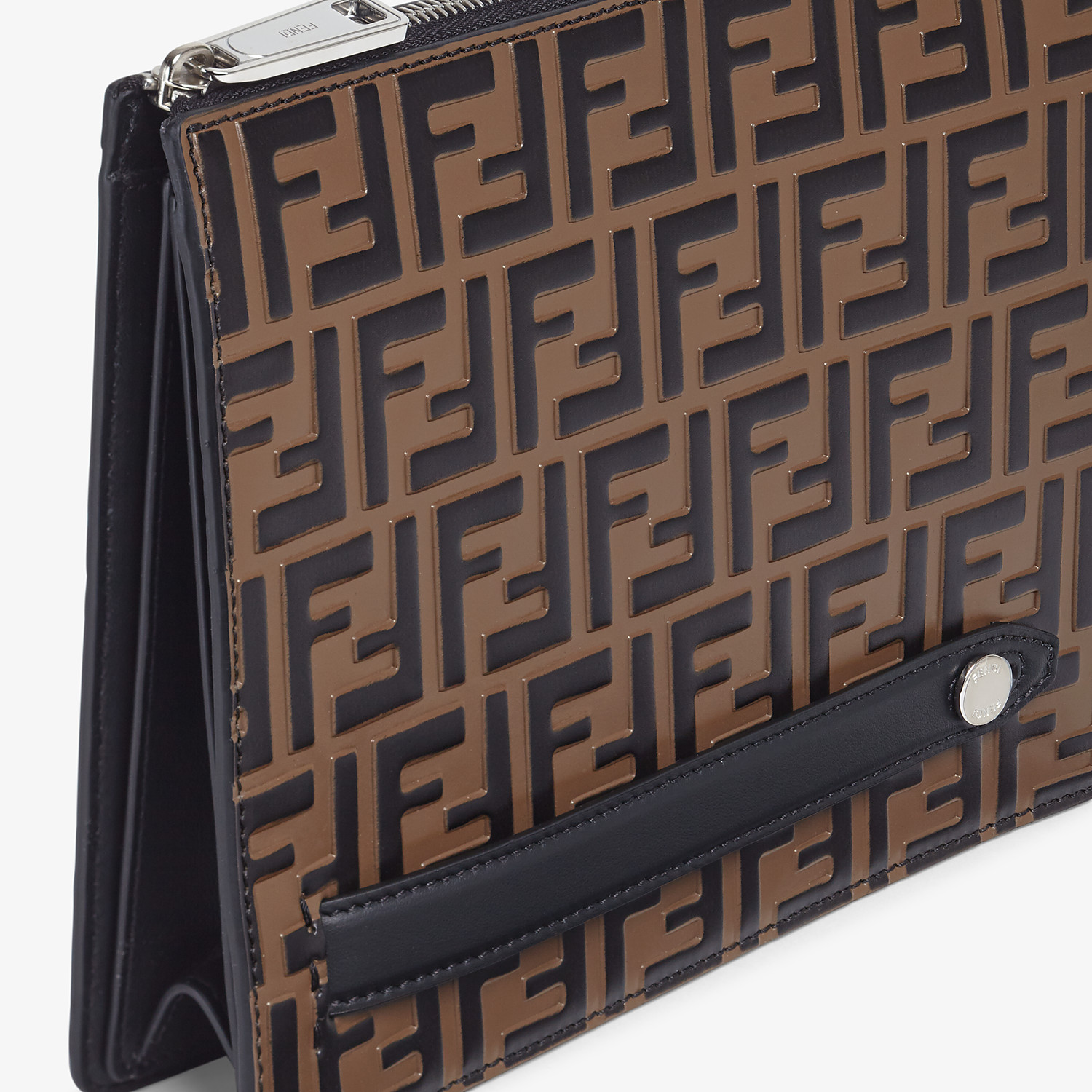 FENDI CLUTCH - Brown leather slim pouch - view 5 detail