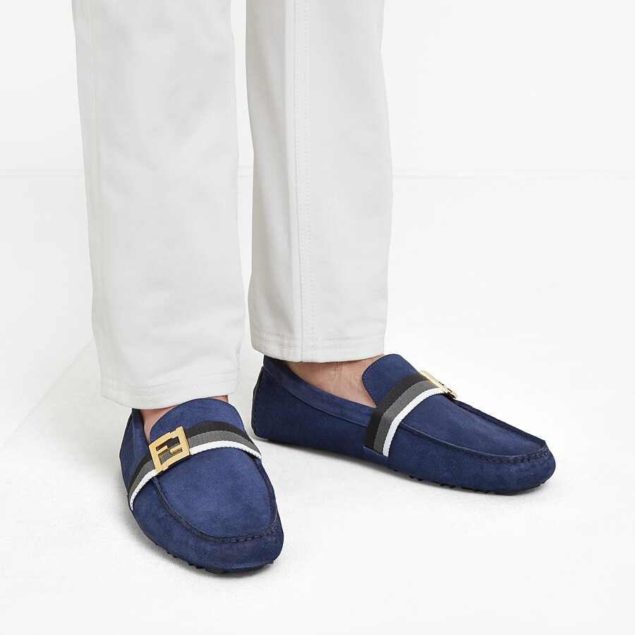 FENDI LOAFERS - Blue suede drivers - view 5 detail