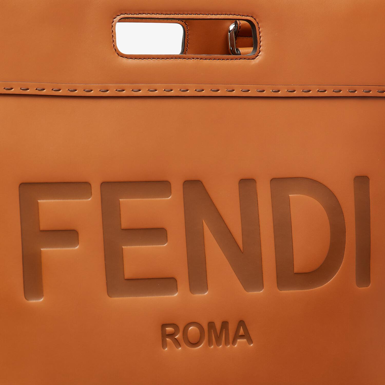 FENDI SHOPPING BAG - Brown leather shopper - view 6 detail